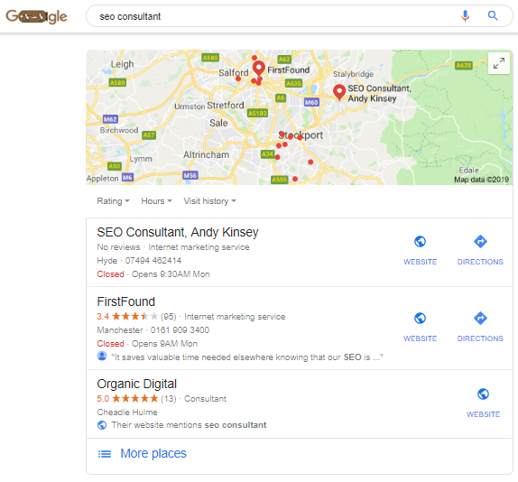Local Search Results for the term 'SEO Consultant'